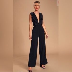 Lulu's, Black Ruffled Wide-Leg Sleeveless Jumpsuit